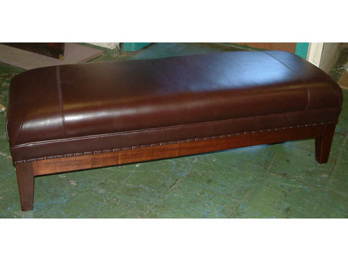 Custom Made African Mahogany &Leather ottoman