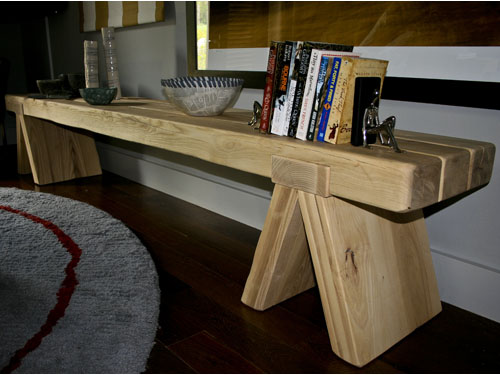 Custom Made Bespoke Rustic Solid Ash timber bench