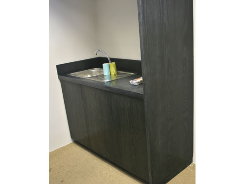 Custom Made Office kitchen counter with charcoal Ash bespoke finish